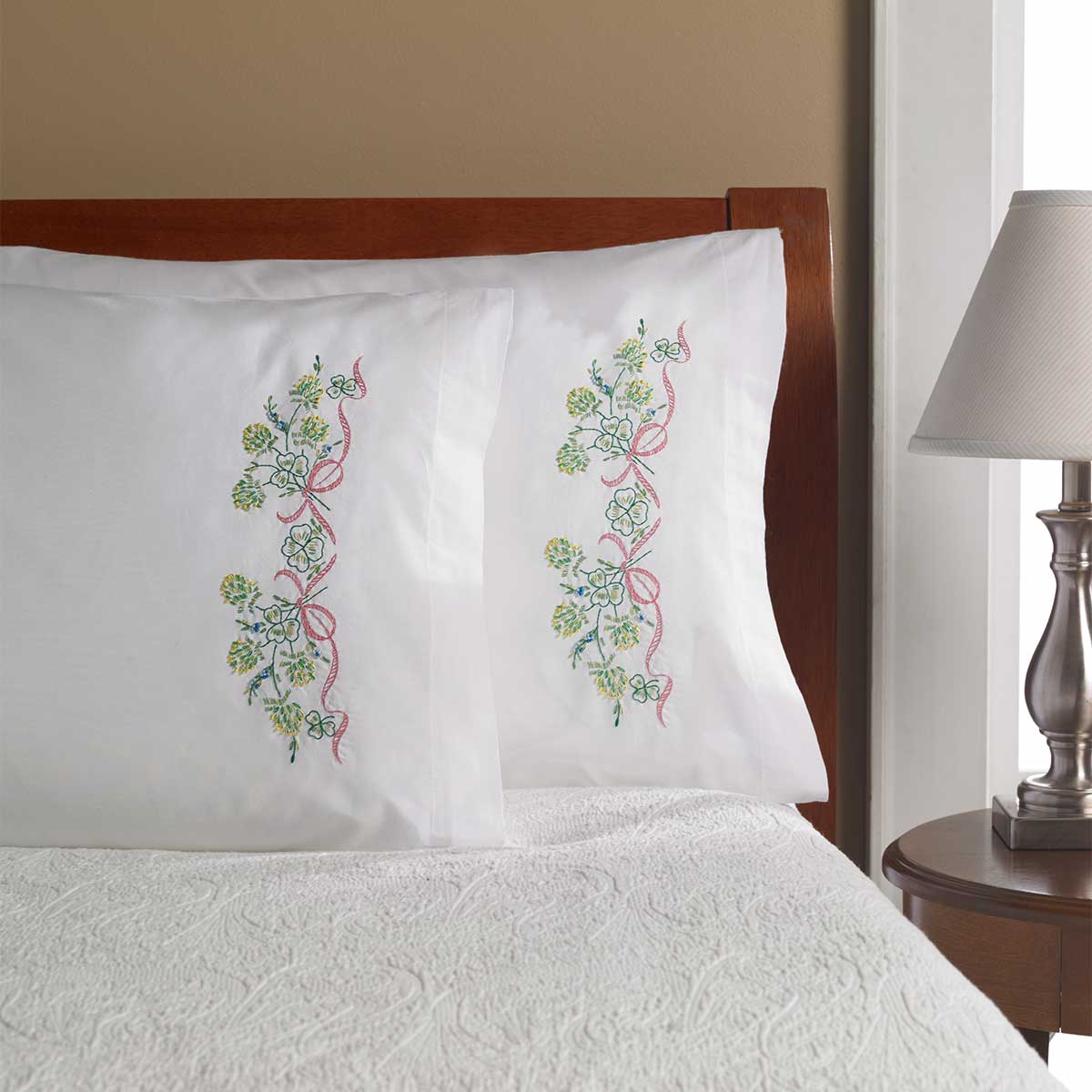 Bucilla ® Stamped Cross Stitch & Embroidery - Pillowcase Pairs - Clover