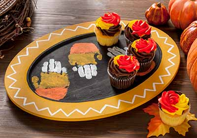 Candy Corn Handprint Tray