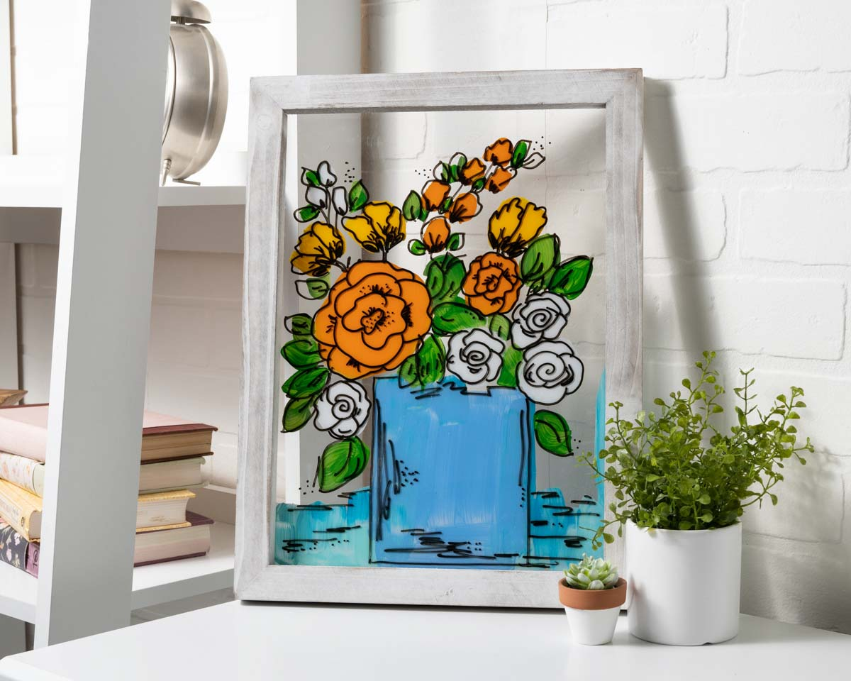 Floral Glass Painting