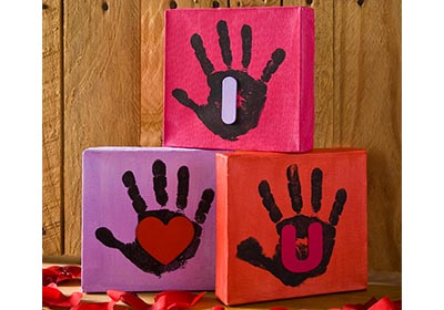 """I Heart U"" Handprint Canvases"