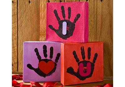 """I Heart U"" Handprint Canvases"