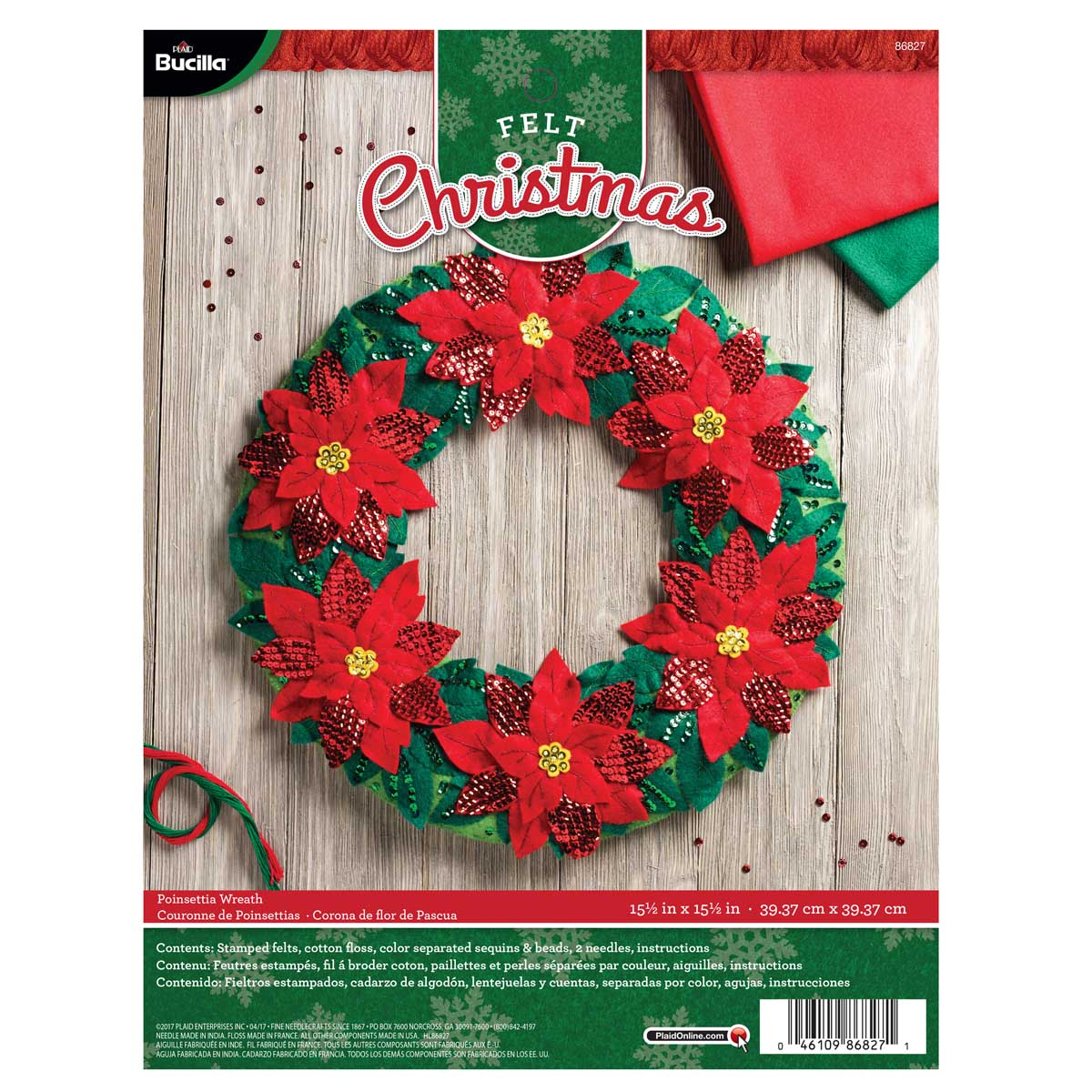 Bucilla ® Seasonal - Felt - Home Decor - Poinsettia Wreath - 86827