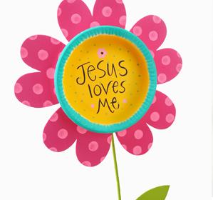 Jesus Loves Me Flower Stake