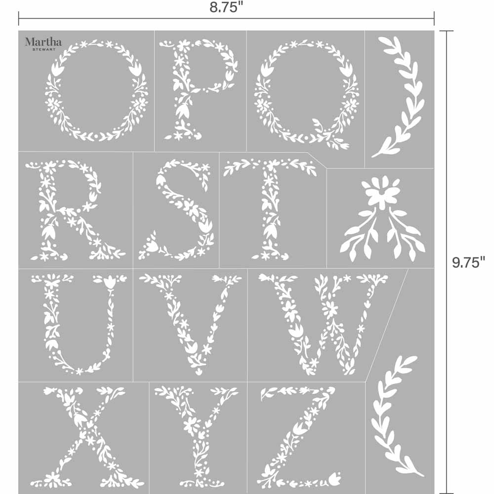 Martha Stewart® Adhesive Stencil - Floral Monogram