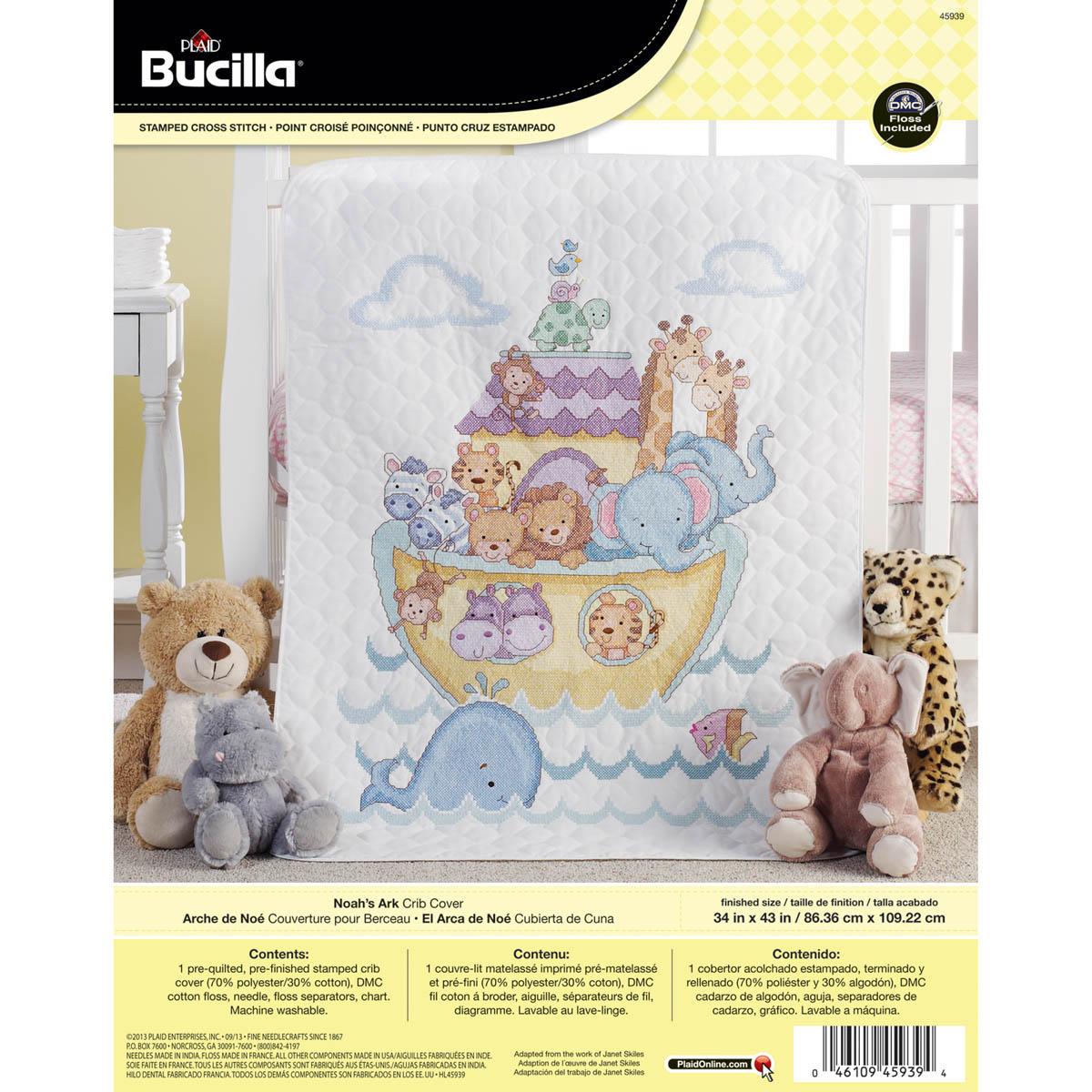 Bucilla ® Baby - Stamped Cross Stitch - Crib Ensembles - Noah's Ark - Crib Cover Kit