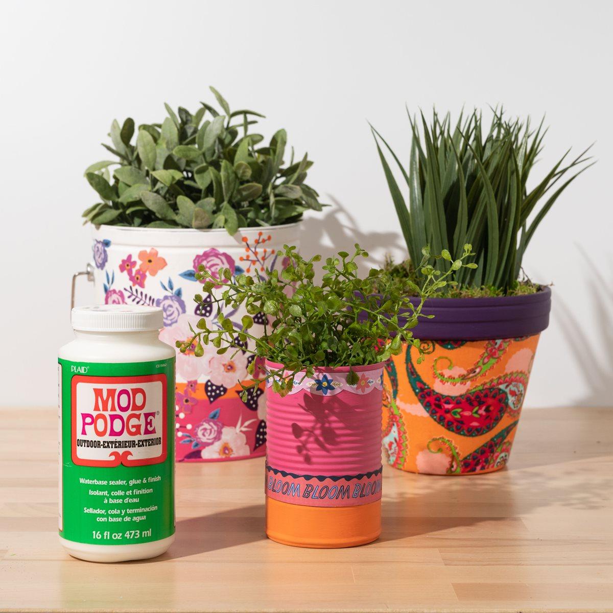Mod Podge Garden Pots