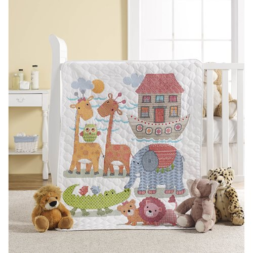 Bucilla ® Baby - Stamped Cross Stitch - Crib Ensembles - Two By Two - Crib Cover