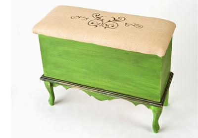 Antiqued Green Bench