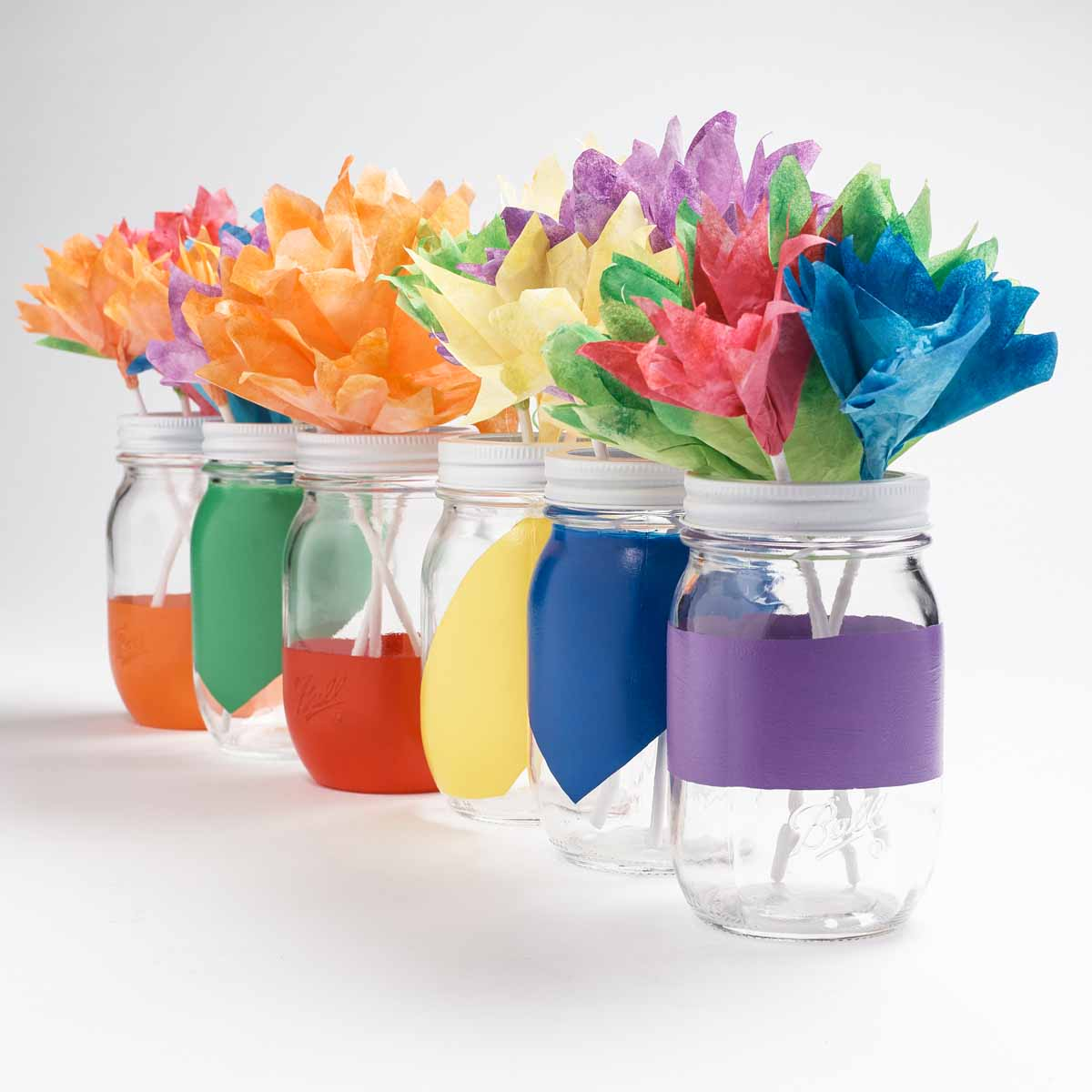 Painted Mason Jars & Coffee Filter Flower Bouquets -- Rainy Day Kids Crafts