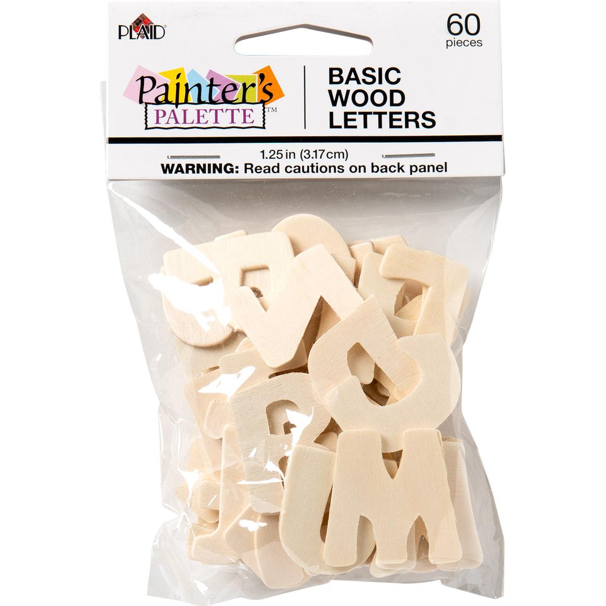 Plaid ® Painter's Palette™ Wood Letters, 1.25 inch, 60 pcs.
