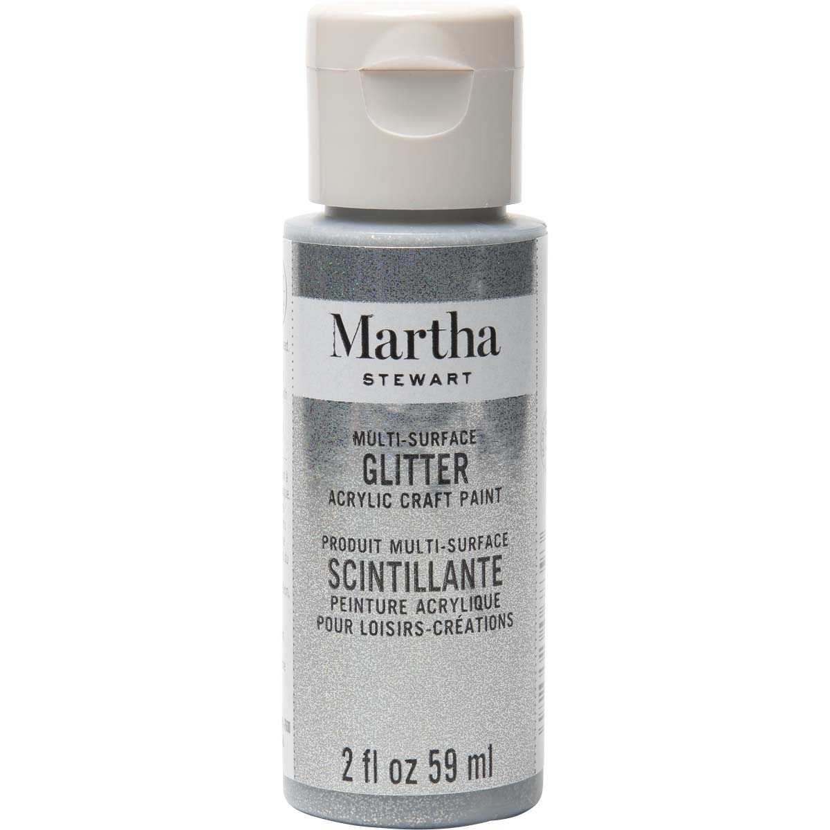 Martha Stewart ® Multi-Surface Glitter Acrylic Craft Paint - Sterling, 2 oz. - 32181CA
