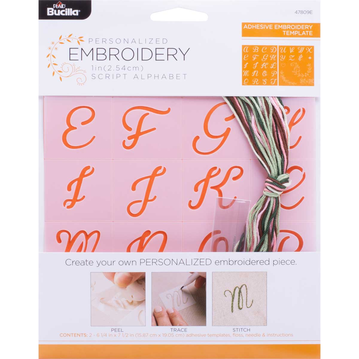 Bucilla ® Stamped Embroidery - Lettering & Monogramming Template - Script Font