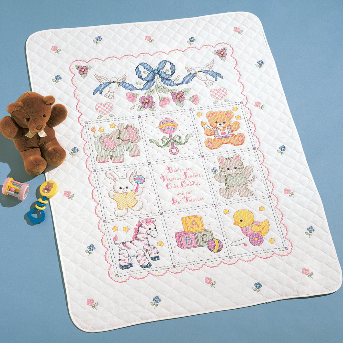 Bucilla ® Baby - Stamped Cross Stitch - Crib Ensembles - Babies Are Precious - Crib Cover Kit