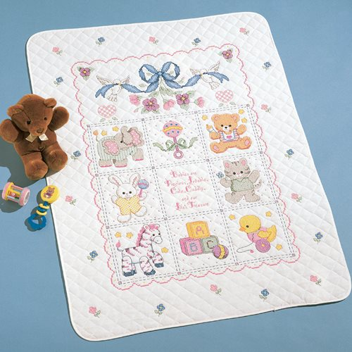 Bucilla ® Baby - Stamped Cross Stitch - Crib Ensembles - Babies Are Precious - Crib Cover Kit
