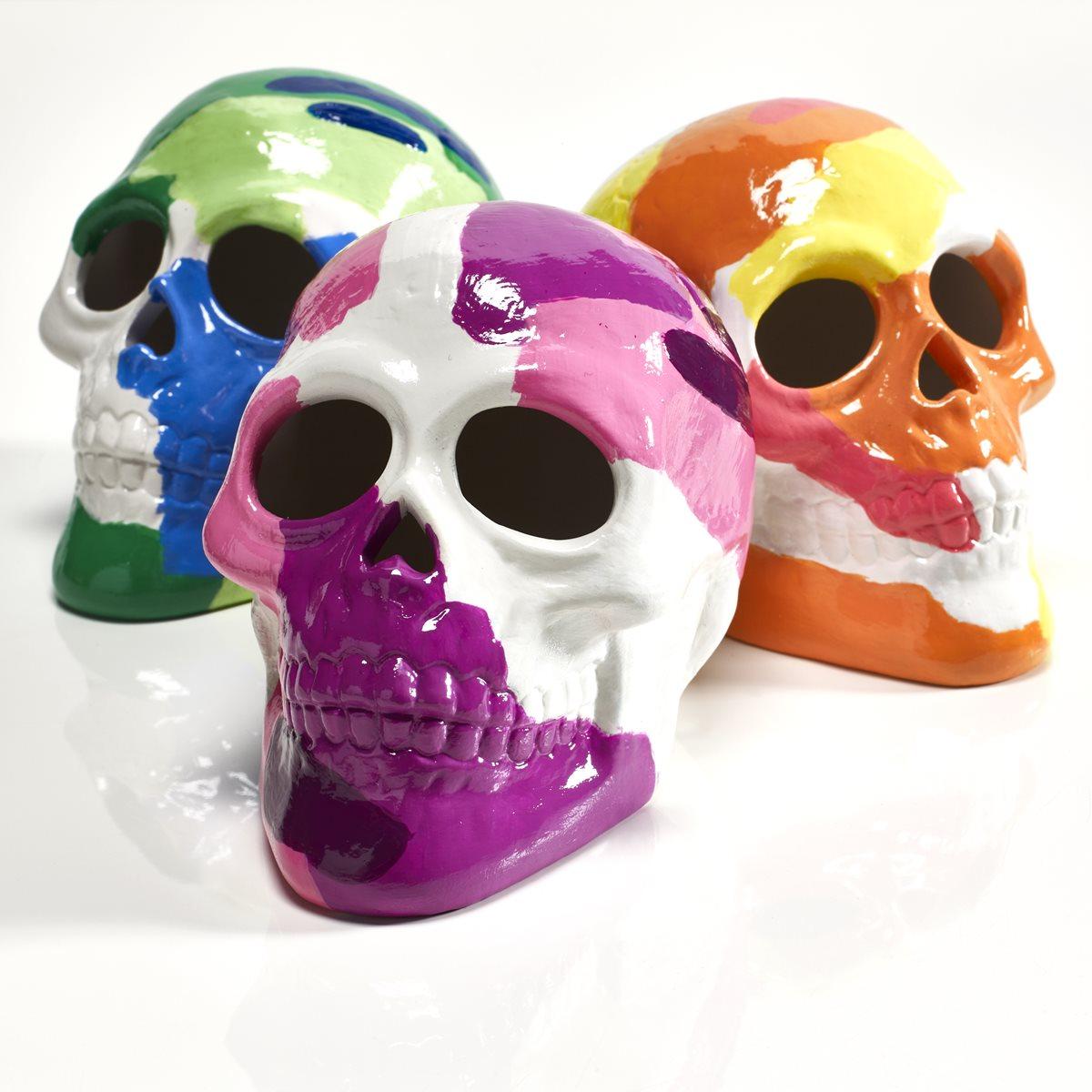 FolkArt Glossy Poured Skulls & Wood Vase