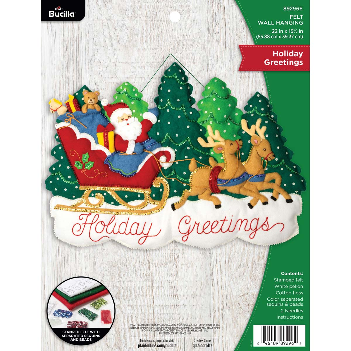 Bucilla ® Seasonal - Felt - Home Decor -  Holiday Greetings Wall Hanging - 89296E