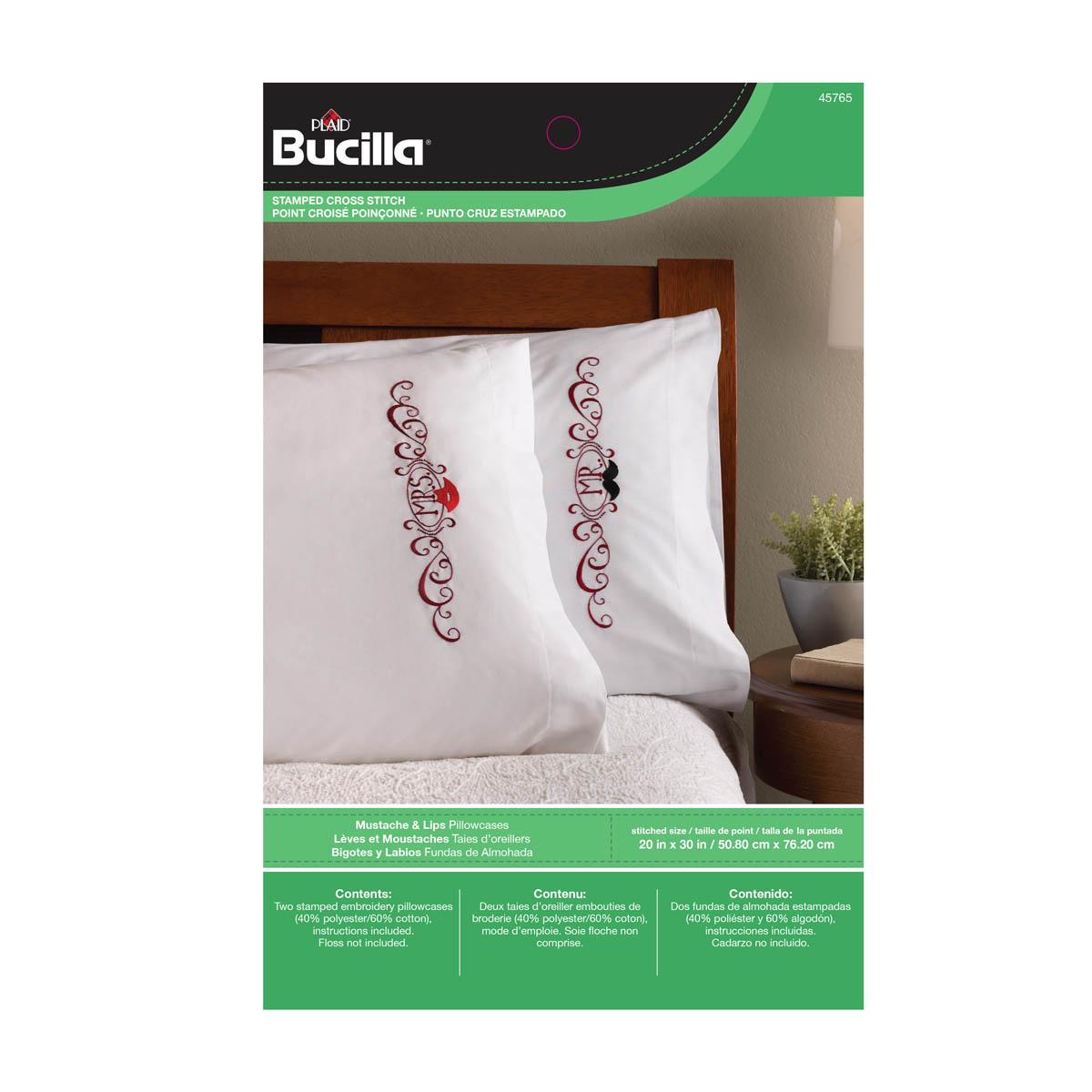 Bucilla ® Stamped Cross Stitch & Embroidery - Pillowcase Pairs - Mustache & Lips - 45765