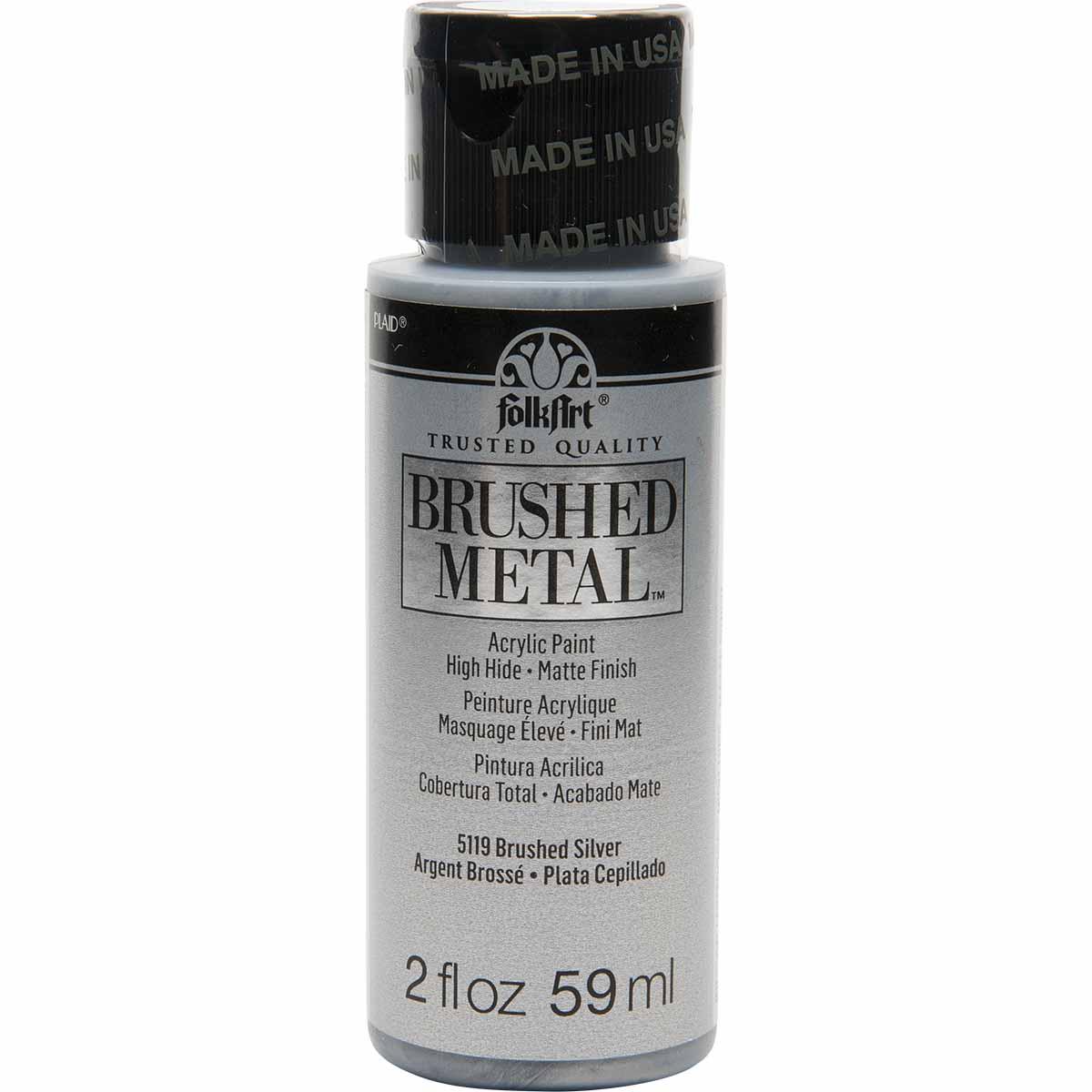 FolkArt ® Brushed Metal™ Acrylic Paint - Silver, 2 oz. - 5119