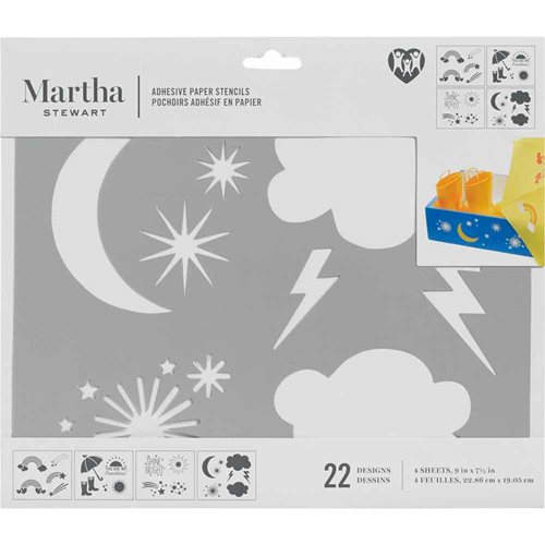 Martha Stewart ® Adhesive Paper Stencils - Rainbows and Clouds - 5685