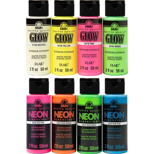 FolkArt ® Neons Glow-in-the-Dark 8 Color Set - PROMOFAGLOW8