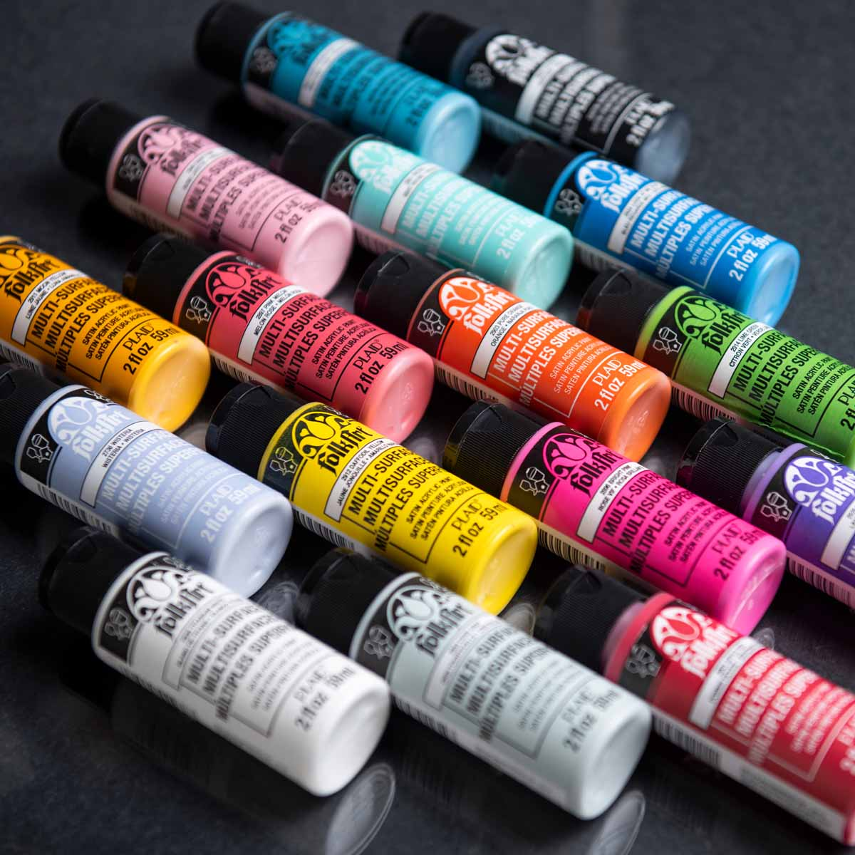 FolkArt ® Multi-Surface Satin Acrylic Paint 16 Color Set - Brights
