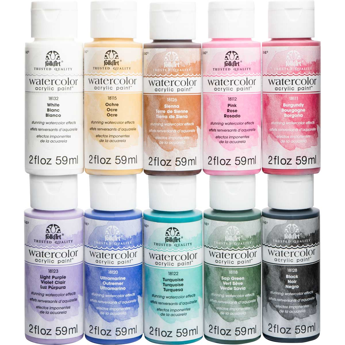 FolkArt ® Watercolor Acrylic Paint™ 10 Color Set - PROMOFAWC10