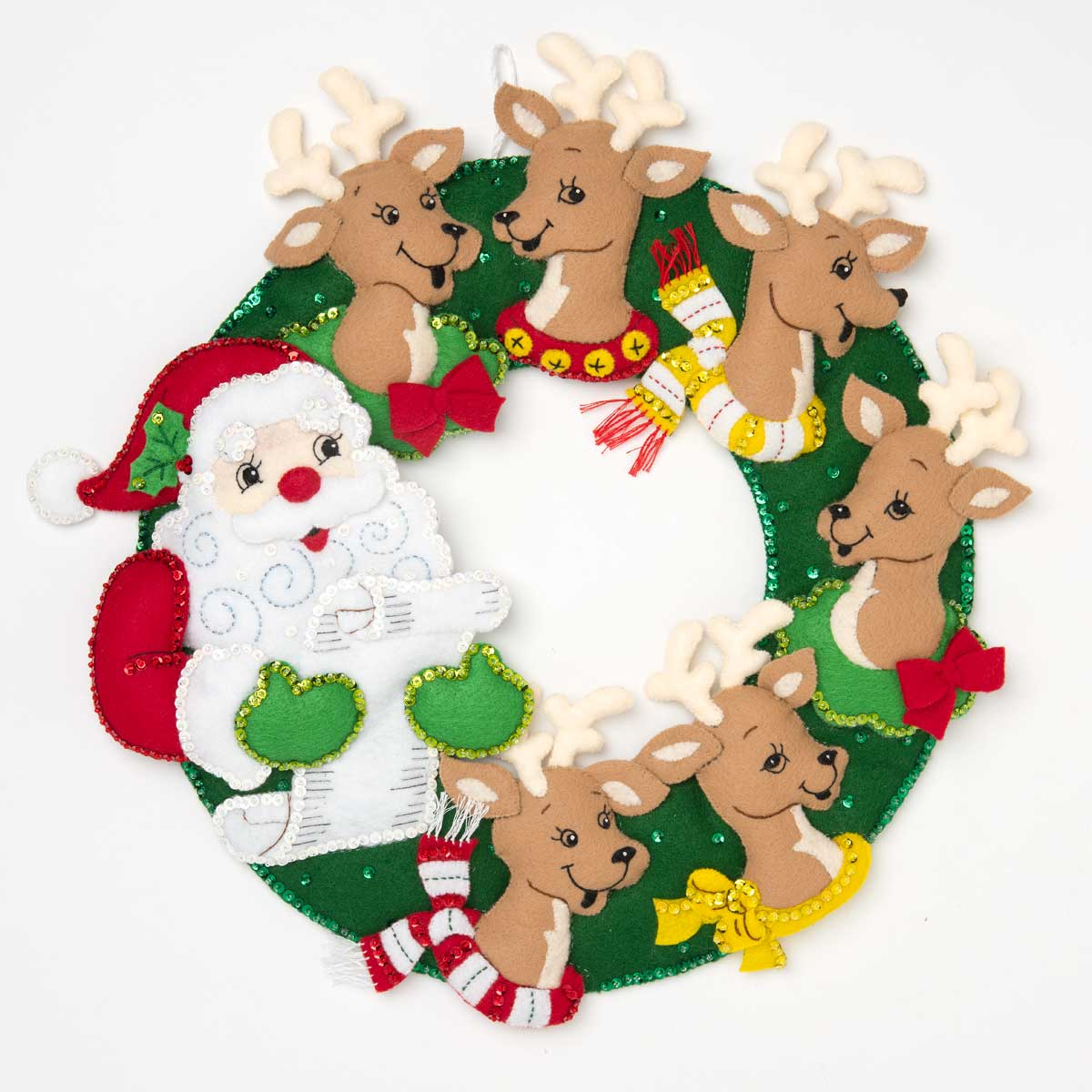 Bucilla ® Seasonal - Felt - Home Decor - Santa and Reindeer Wreath - 86916E