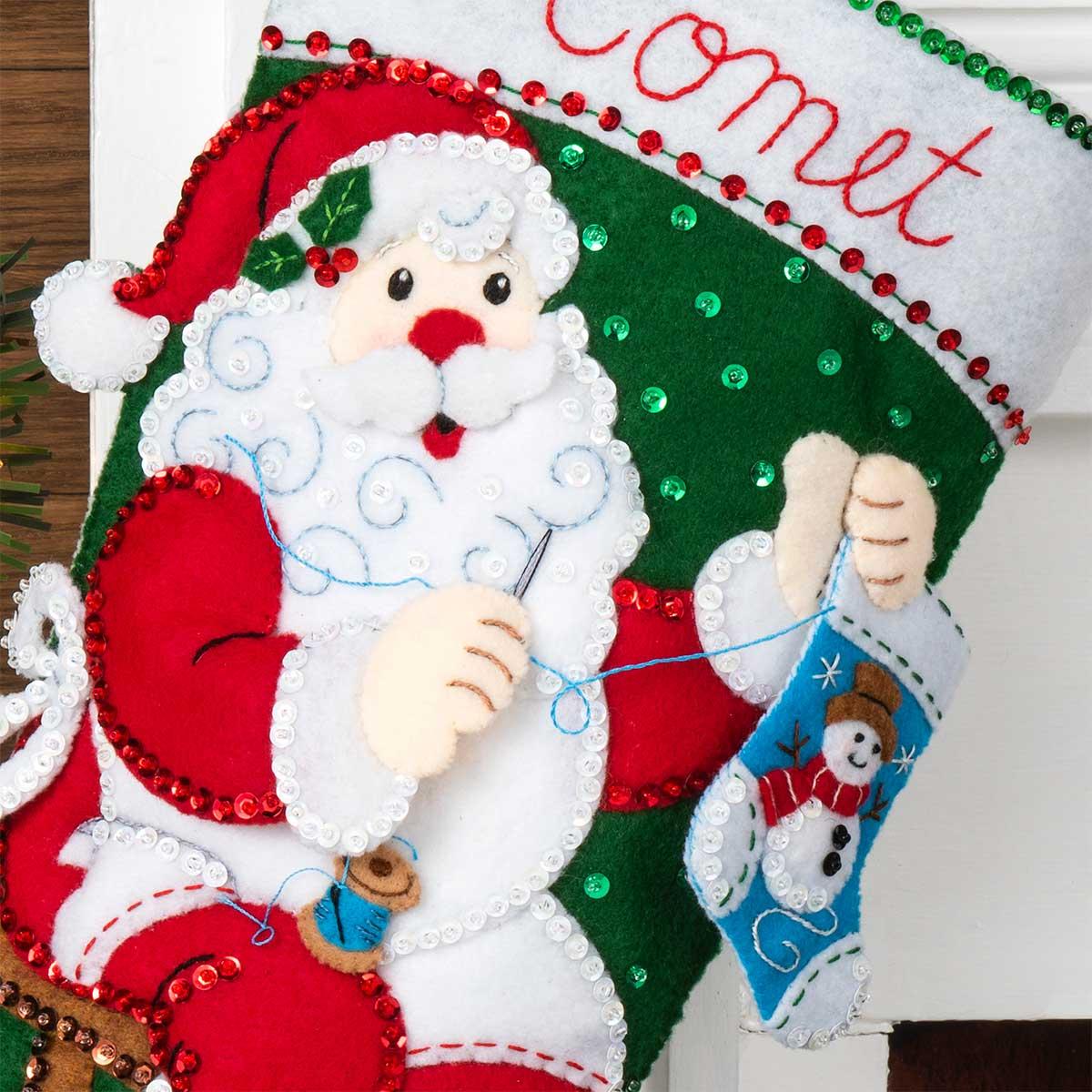Bucilla ® Seasonal - Felt - Stocking Kits - Stitching Santa - 89234E