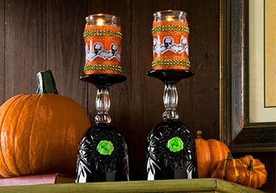 Spooky Wine Glass Candleholders