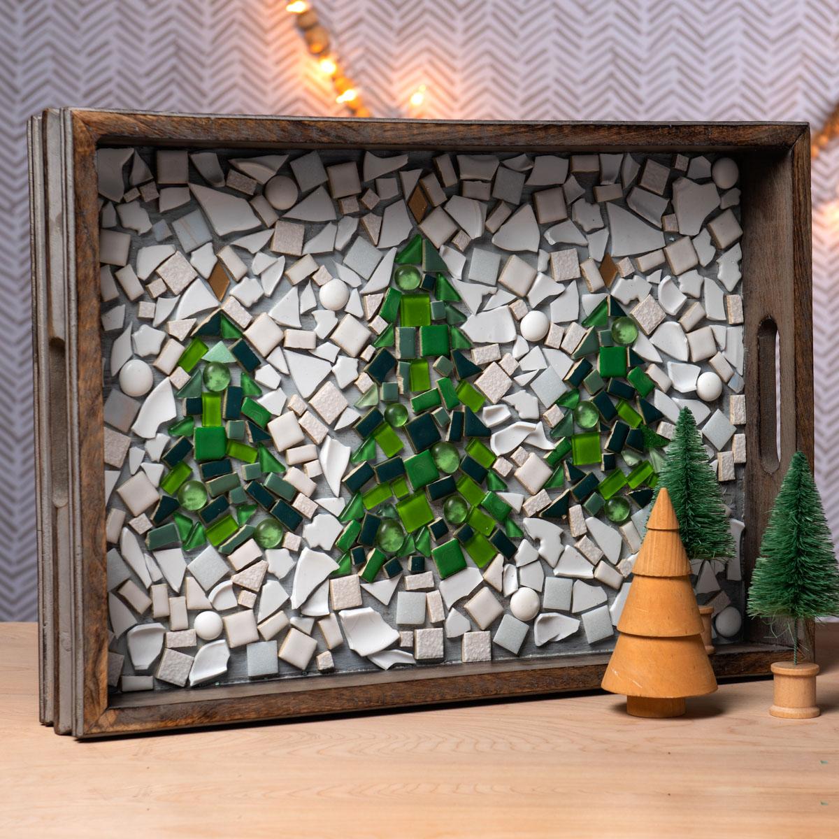 Mosaic Winter Tree Tray