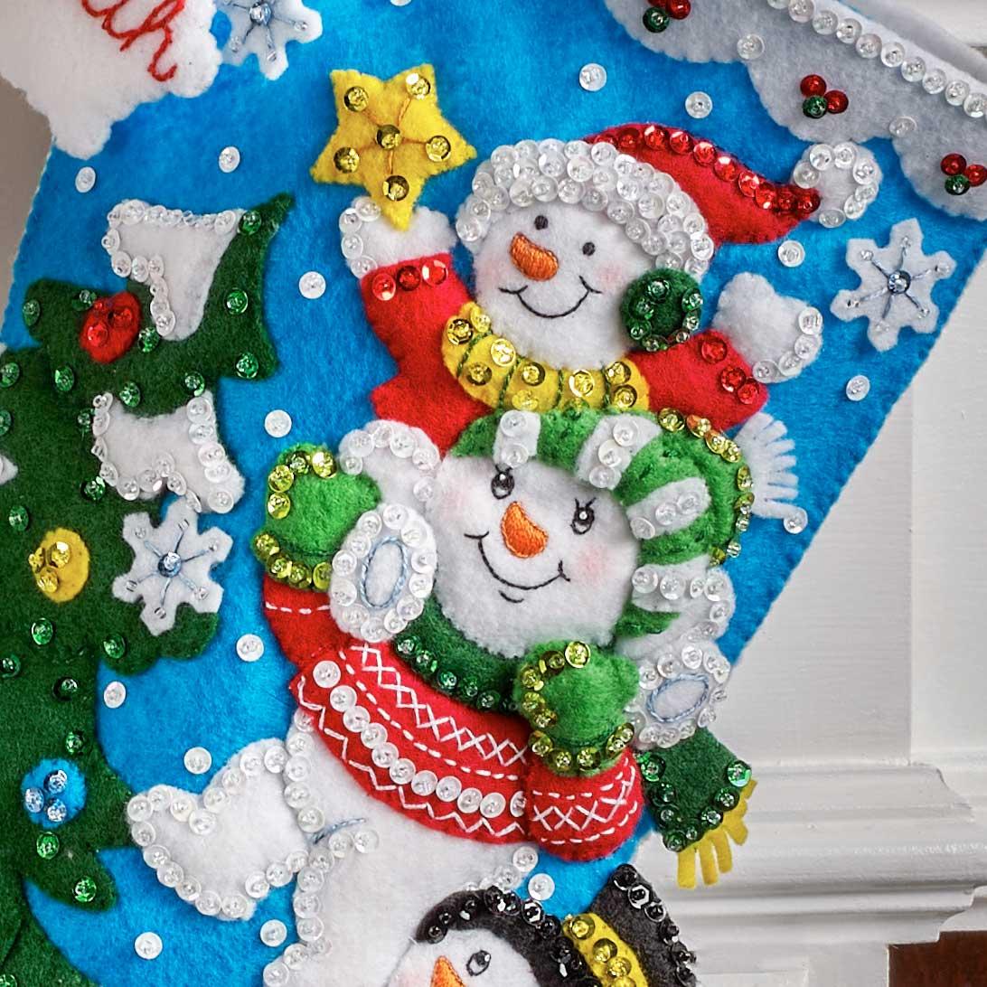 Bucilla ® Seasonal - Felt - Stocking Kits - Teamwork Snowmen - 89248E