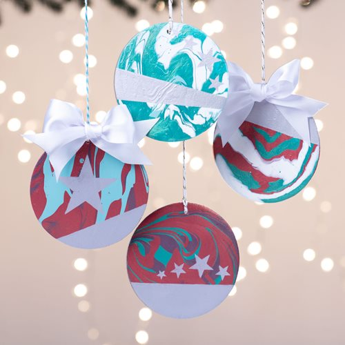 Color Shift Stenciled Ornaments