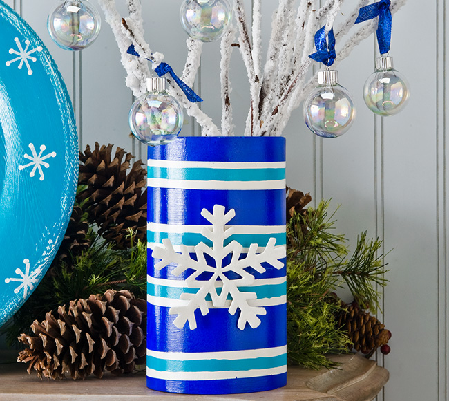 Turquoise Christmas Snowflake Vase