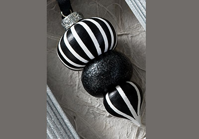 Black and White Wooden Ornament
