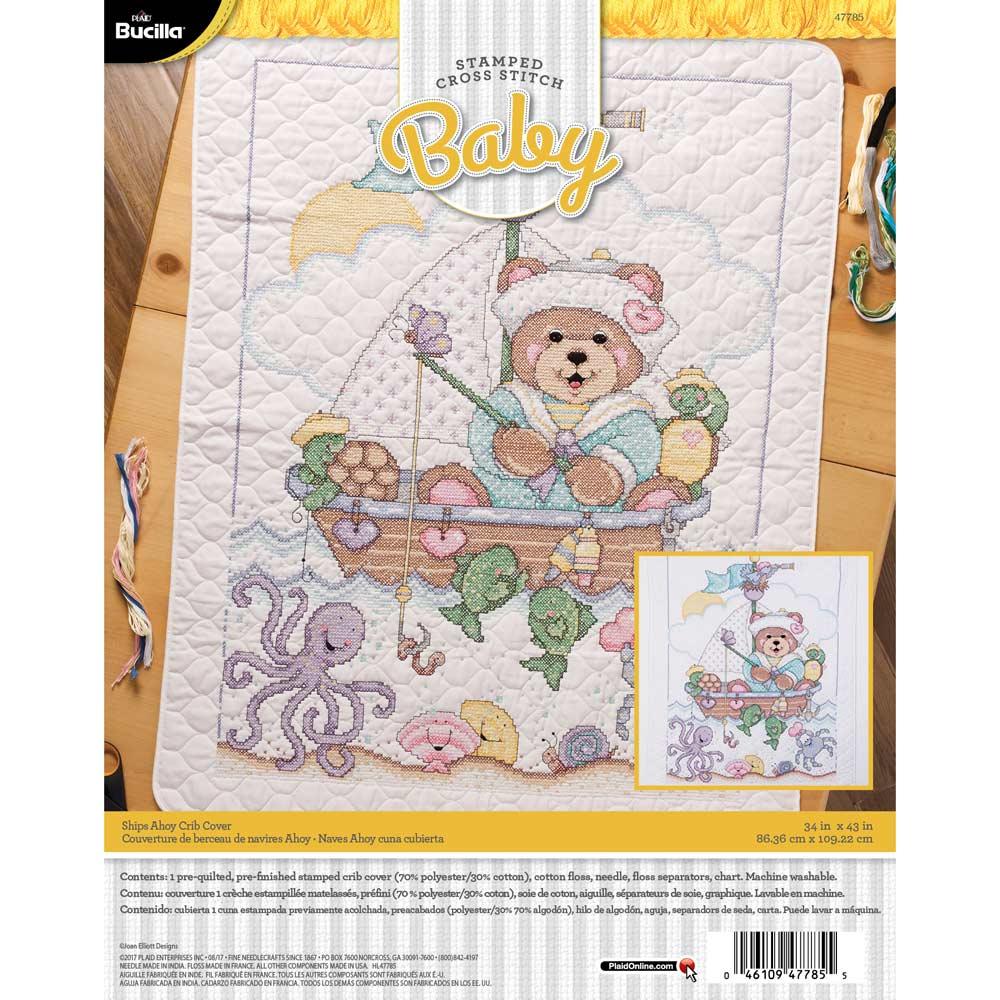 Bucilla ® Baby - Stamped Cross Stitch - Crib Ensembles - Ships Ahoy - Crib Cover Kit