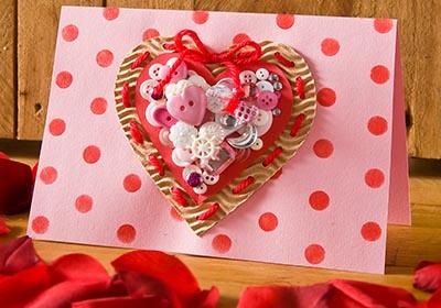 Kids Valentine Button Heart Card
