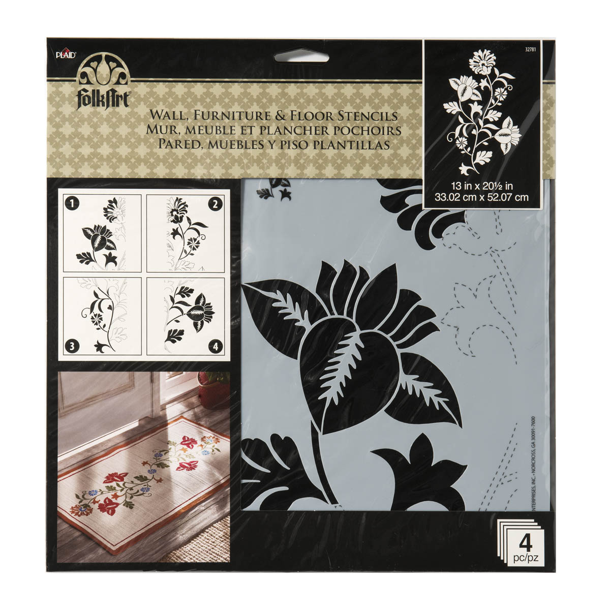 FolkArt ® Painting Stencils - Wall, Floor & Furniture - Climbing Floral - 32781