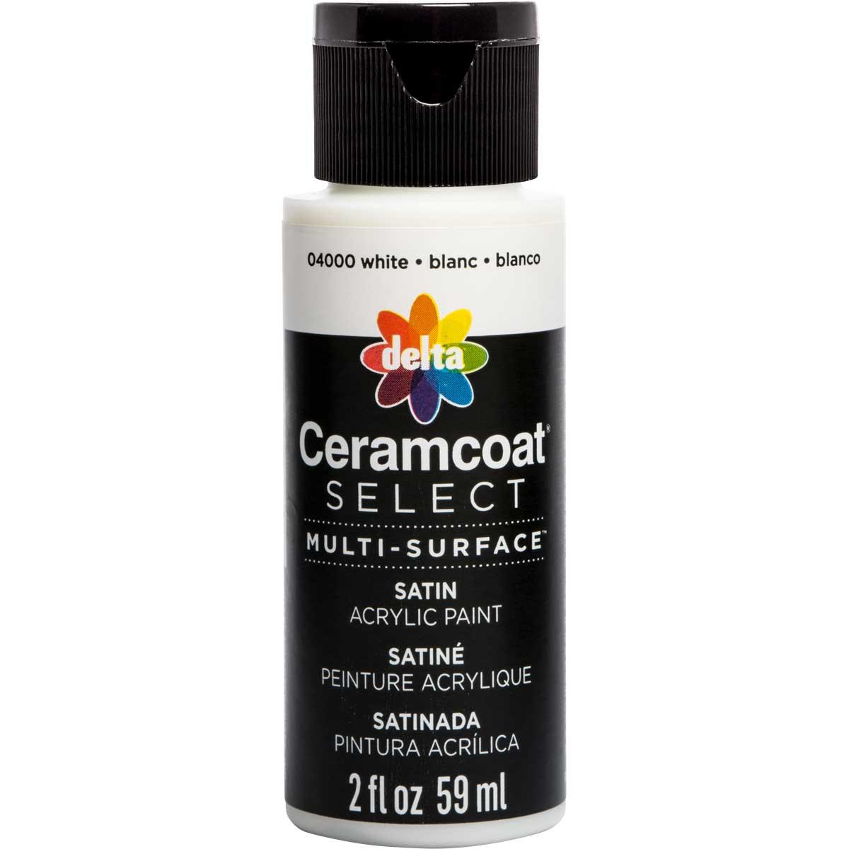 Delta Ceramcoat ® Select Multi-Surface Acrylic Paint - Satin - White, 2 oz.
