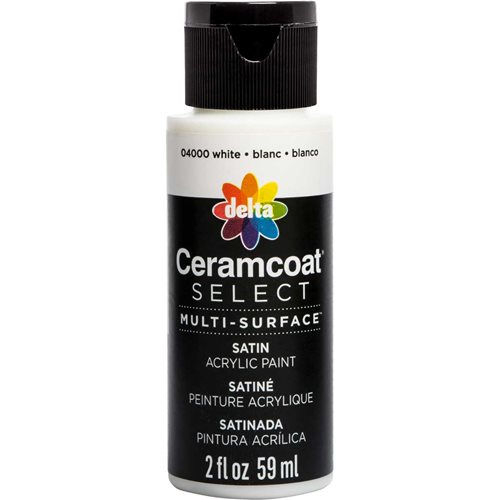 Delta Ceramcoat ® Select Multi-Surface Acrylic Paint - Satin - White, 2 oz. - 04000