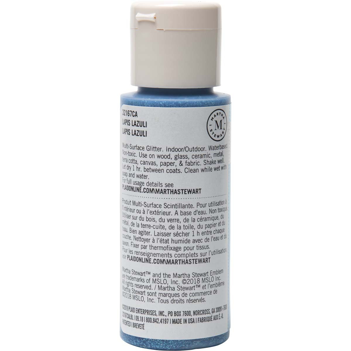 Martha Stewart ® Multi-Surface Glitter Acrylic Craft Paint - Lapis Lazuli, 2 oz. - 32167CA