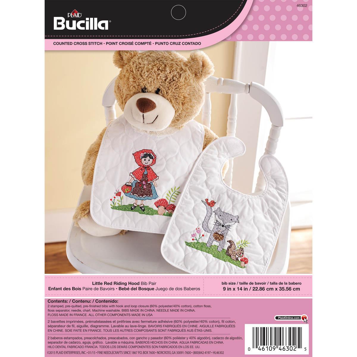 Bucilla ® Baby - Stamped Cross Stitch - Crib Ensembles - Little Red Riding Hood - Bib Pair Kit - 463