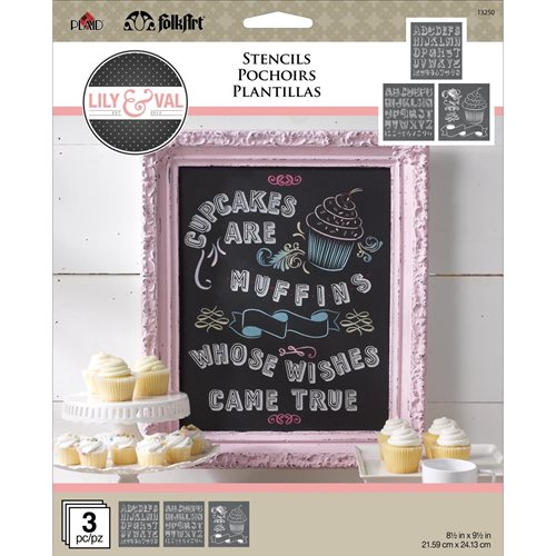 FolkArt ® Lily & Val™ Stencils - Variety Packs - Cupcake