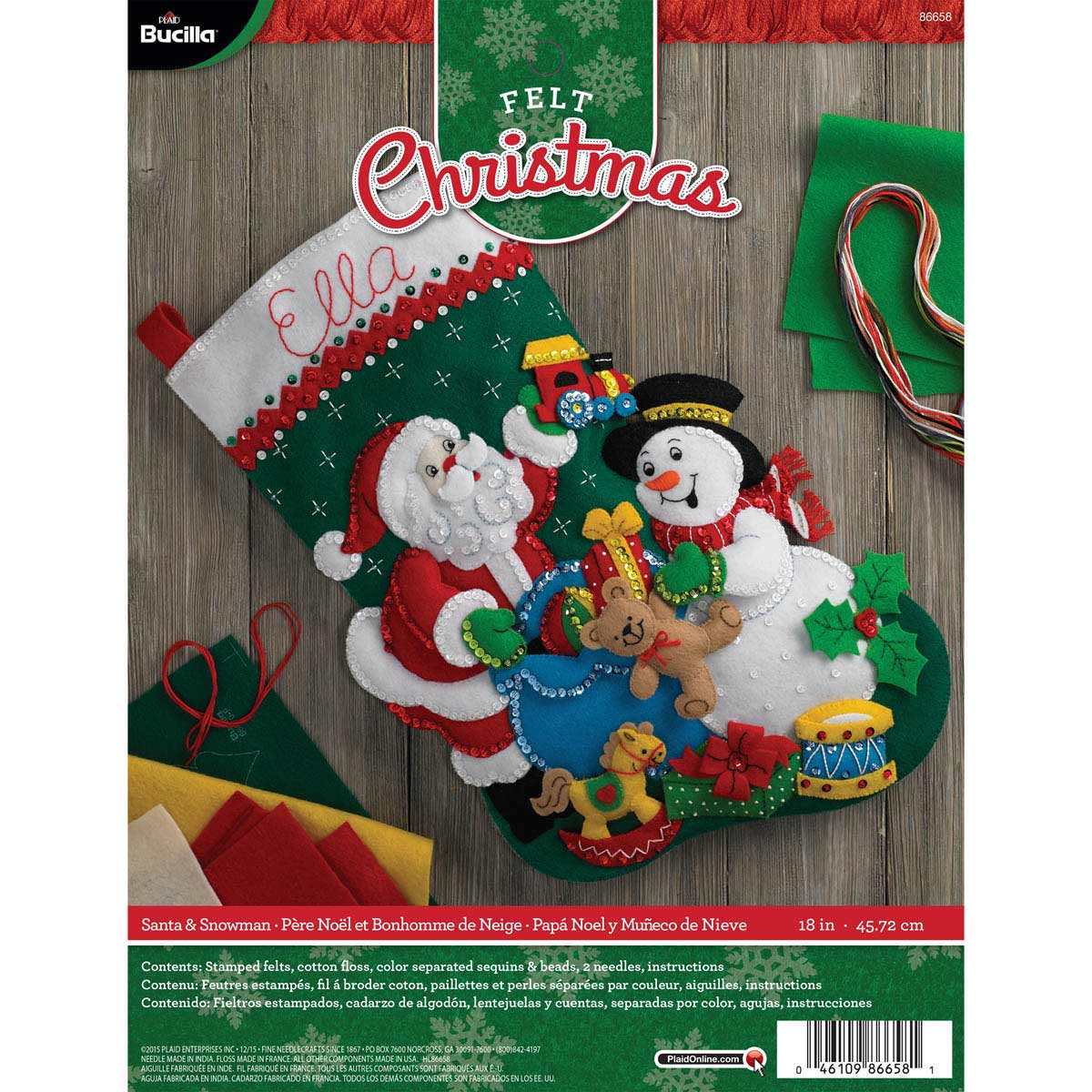 Bucilla ® Seasonal - Felt - Stocking Kits - Santa & Snowman - 86658