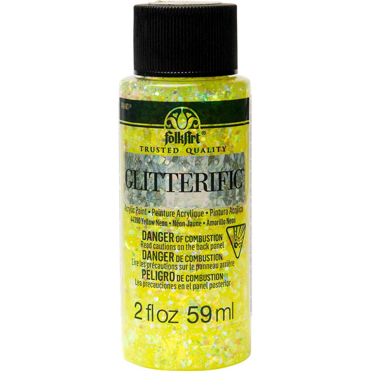 FolkArt ® Glitterific™ Acrylic Paint - Neon Yellow, 2 oz.
