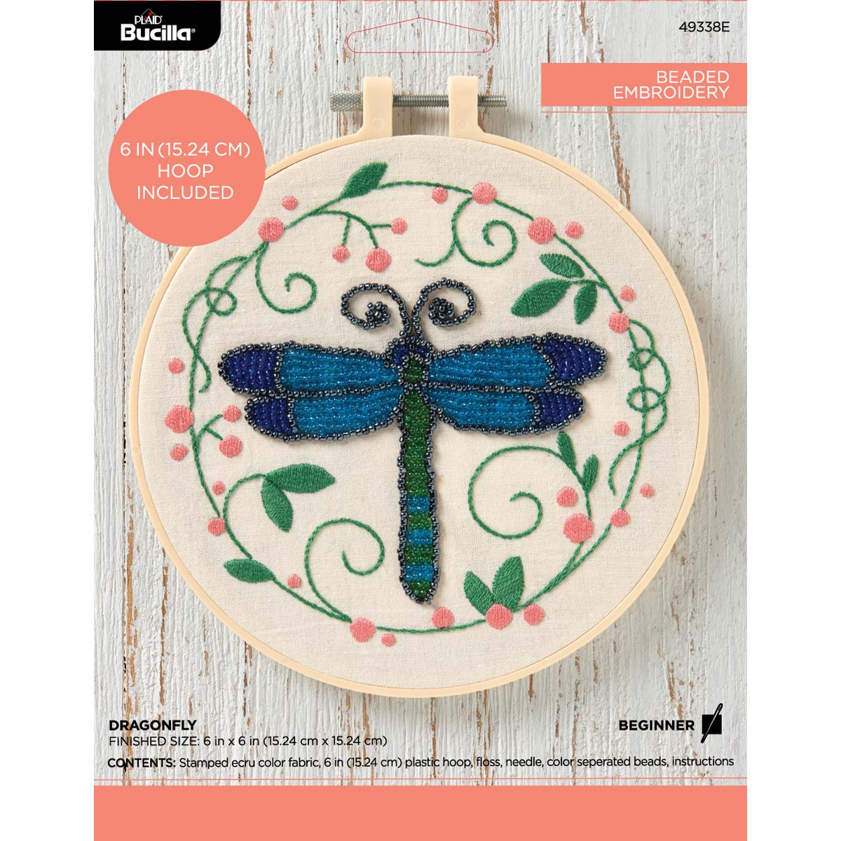 Bucilla ® Stamped Beaded Embroidery - Dragonfly - 49338E