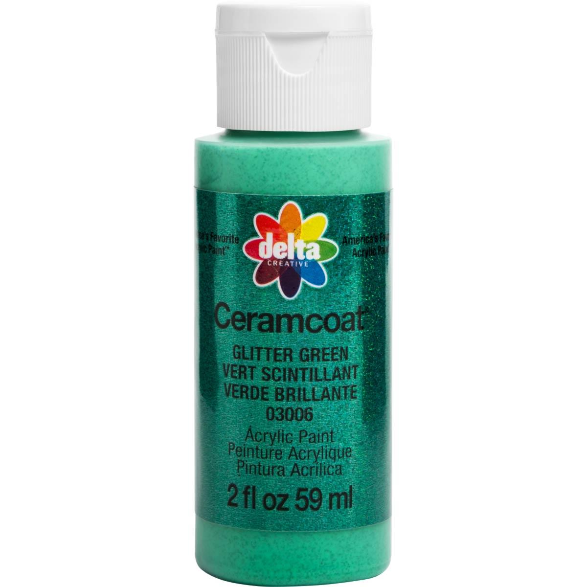 Delta Ceramcoat ® Acrylic Paint - Glitter Green, 2 oz.