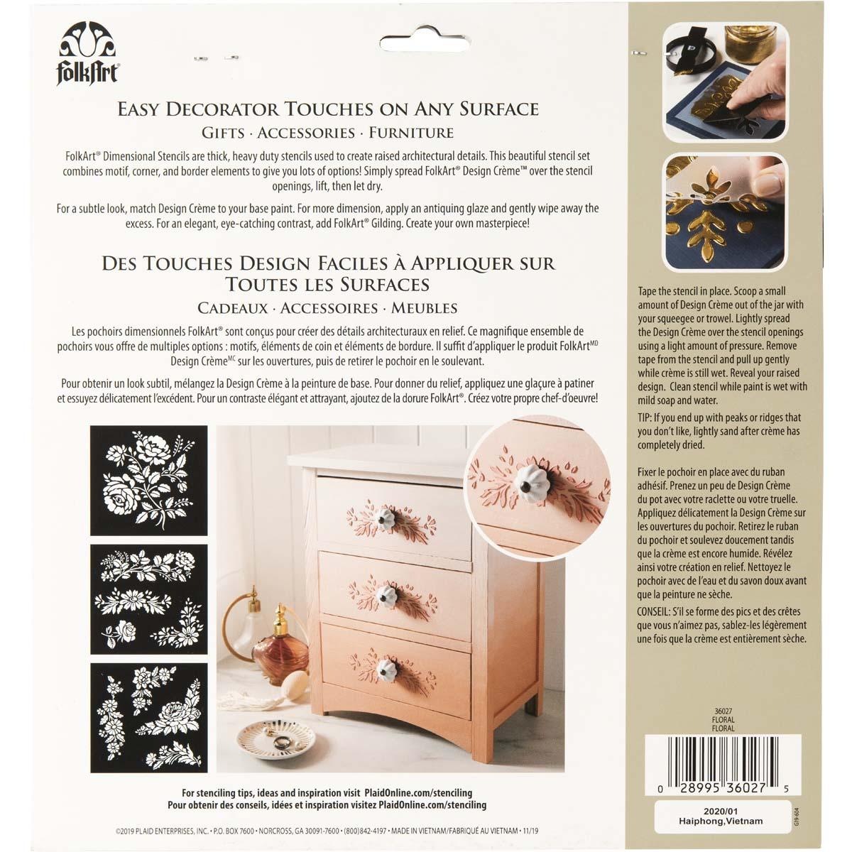 FolkArt ® Dimensional Stencil Pack - Floral, 3 pc. - 36027