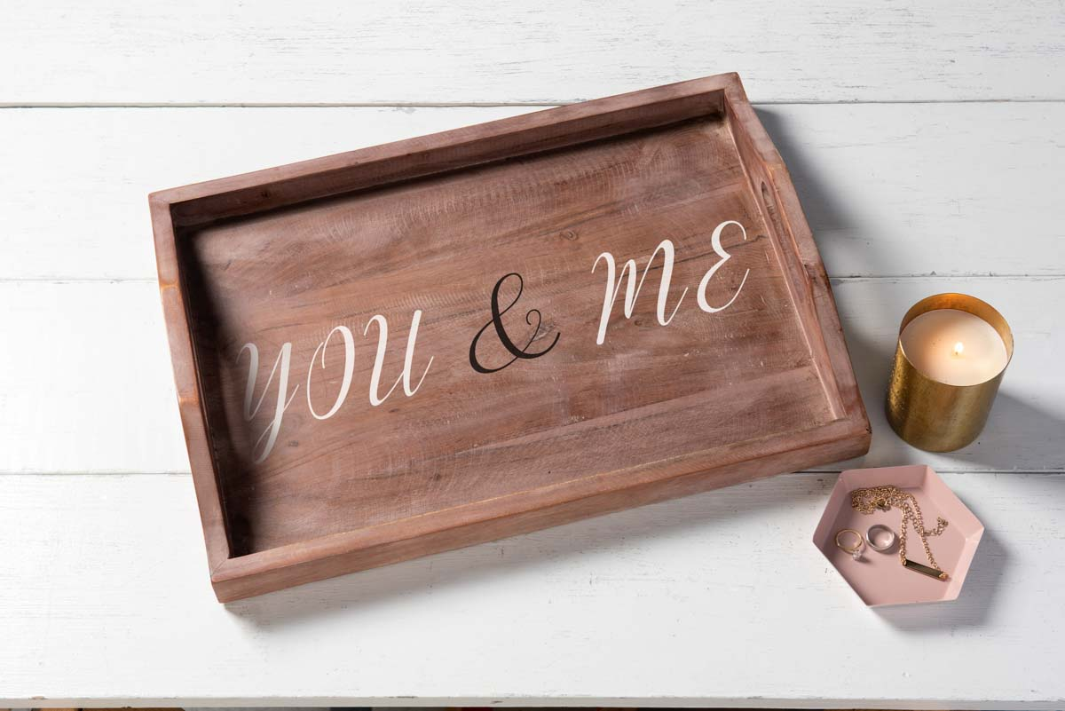 You and Me Wooden Stenciled Tray