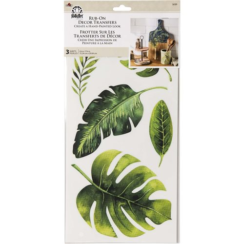 FolkArt ® Rub-On Décor Transfer - Tropical Leaves, 3 pc. - 36109