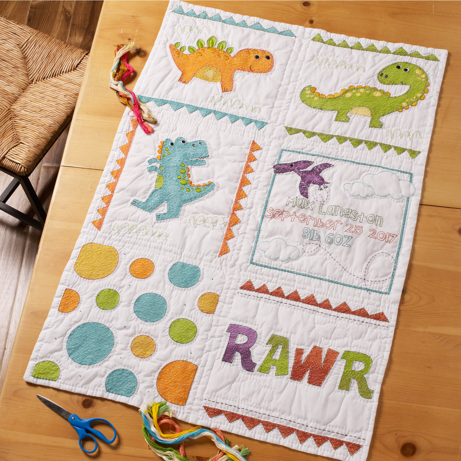 Bucilla ® Baby - Stamped Cross Stitch - Crib Ensembles - Dino Baby - Quilt Blocks - 47723